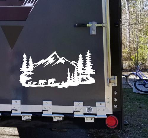 Bear Family Mountain Scene Vinyl Decal V2 - RV Motorhome Graphics - Die Cut Sticker