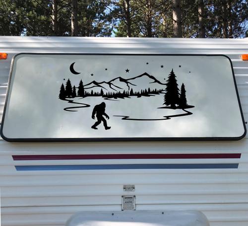 Bigfoot Moon Mountains Forest Scenery V4 - Sasquatch PNW RV Graphics Camper - Die Cut Sticker