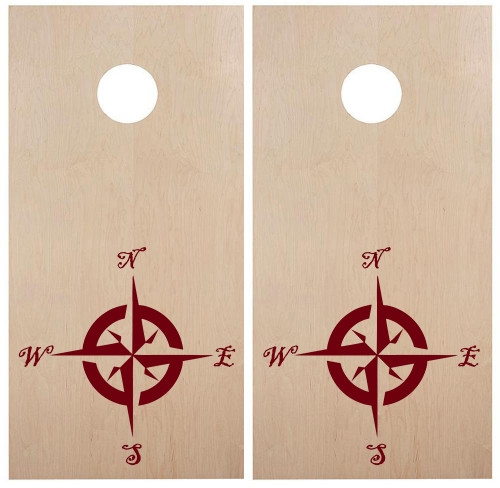 Compass Rose Cornhole Board Decals V1 - Campground Travel Trailer - Die Cut Stickers (2-pack) 22w x 22h inches