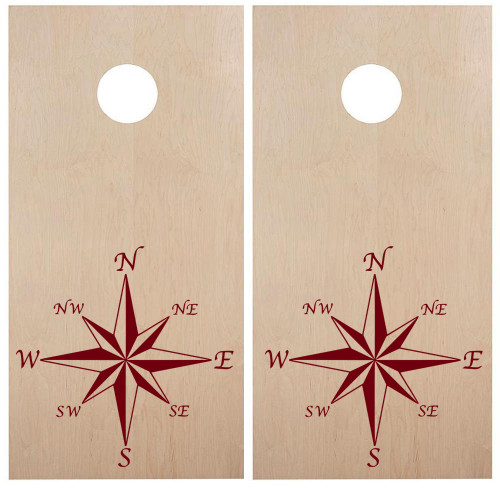 Compass Rose Cornhole Board Decals V2 - Beanbag Game Summer - Die Cut Stickers (2-pack) 22w x 22h inches
