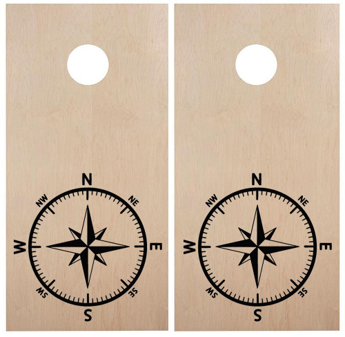 Compass Rose Cornhole Board Decals V3 - Beach Party - Die Cut Stickers (2-pack) 22w x 22h inches