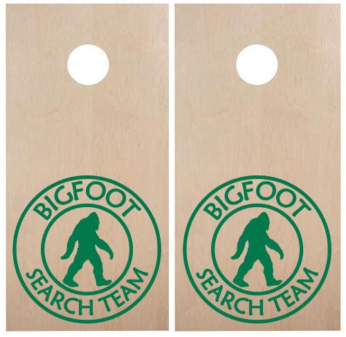 Bigfoot Search Team Cornhole Board Decals - PNW Forest  -Vinyl Die Cut Stickers - each 22w x 22h inches