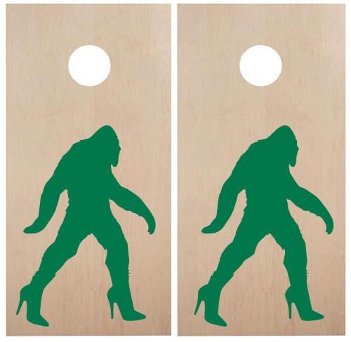 Bigfoot in Heels Cornhole Board Decals - PNW Sasquatch  - Vinyl Die Cut Stickers - each 20w x 30h inches
