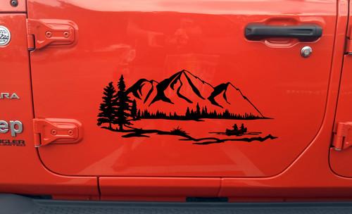 Lake Mountain Canoe Scene Vinyl Decal V1 - RV Graphics Camping - Die Cut Sticker