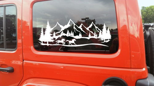 Horses Running Mountains Forest Scene Vinyl Decal V3 - Camper Graphics RV - Die Cut Sticker