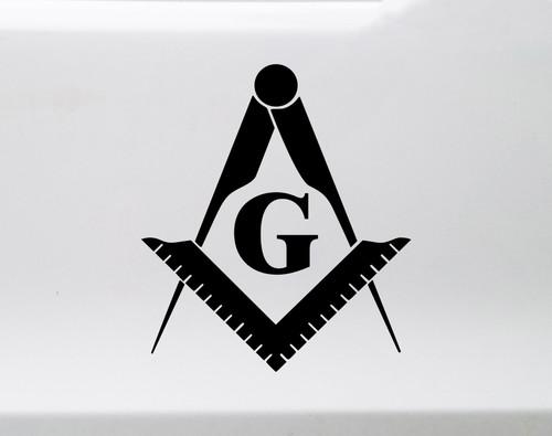 Freemasonry Symbol Vinyl Decal - Masonic Lodge God Square Compass - Die Cut Sticker