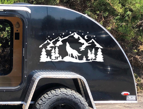 Howling Wolf Moon Mountains Forest Scene V4 - Camper Graphics - Die Cut Sticker