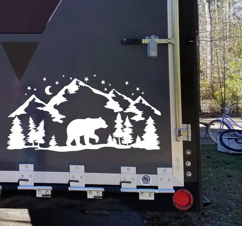 Bear Mountains Moon Scene V4 - RV Travel Trailer Graphics - Die Cut Sticker