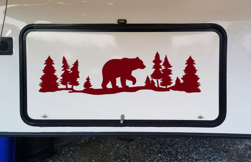 Bear Forest Scene V1 - RV Travel Trailer Camper Graphics - Die Cut Sticker