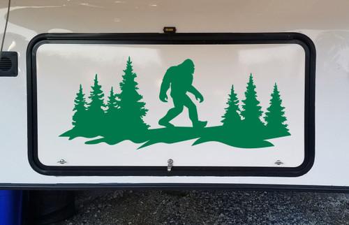 Bigfoot Forest Scene V2 - Sasquatch PNW RV Camper Graphics - Die Cut Sticker