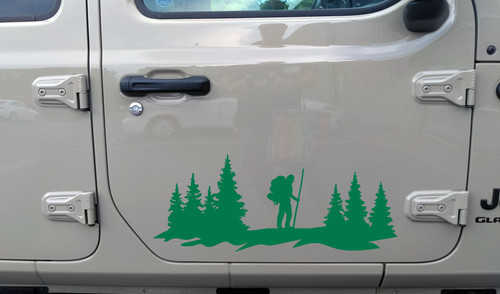 Hiker in Forest Scene Vinyl Decal V2 - Truck Camper Graphics Mountains - Die Cut Sticker