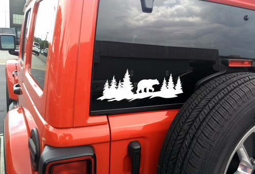 Bear Forest Scene V2 - RV Camper Truck 4x4 Jeep Graphics - Die Cut Sticker