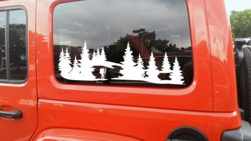 Hiker in Forest Scene Vinyl Decal V1- Truck 4x4 Camper Graphics Mountains - Die Cut Sticker
