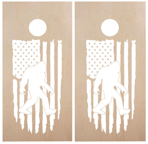 Bigfoot with Distressed American Flag Cornhole Vinyl Decals - United States Stars and Stripes - Die Cut Sticker - each 18w x 33h inches