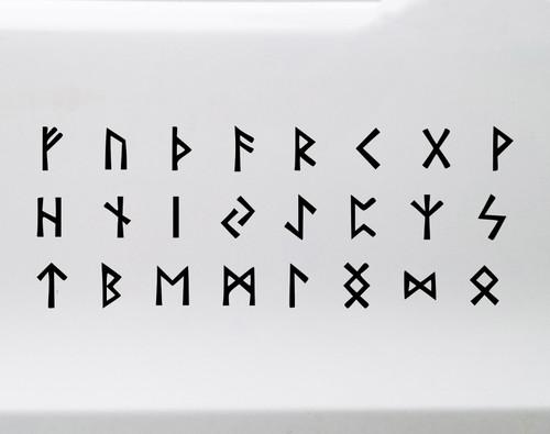 Full Set of 24 Runic Alphabet Vinyl Decals - Elder Futhark Viking Norse - Die Cut Stickers