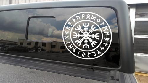 Helm of Awe Terror V5 in Runic Circle Vinyl Decal - Aegishjalmur Nordic Viking Runes - Die Cut Sticker