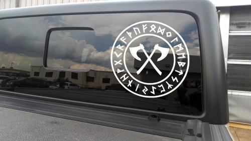 Crossed Viking Axes in Runic Circle Vinyl Decal - Viking Nordic Runes - Die Cut Sticker