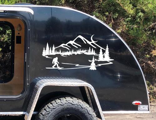 Bigfoot Mountain Lake Scene Vinyl Decal V1 - Moon Ducks RV Graphics - Die Cut Sticker