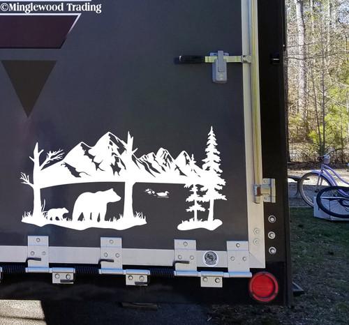 Bears Ducks Lake Mountain Scene Vinyl Decal - Camper Graphics Scenery - Die Cut Sticker