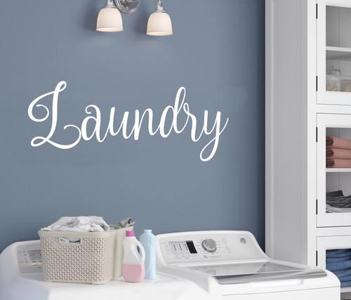 Laundry Vinyl Decal - Room Washer Dryer Hamper Basket - Fancy - Die Cut Sticker