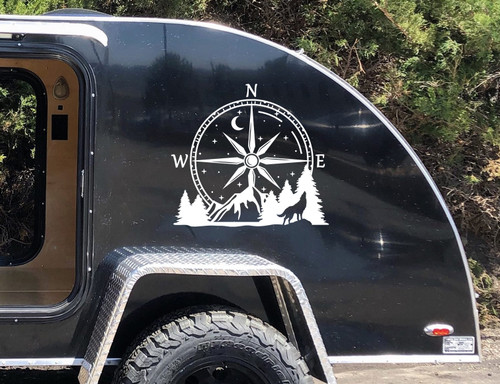 Compass Howling Wolf Mountain Vinyl Decal V1 - Moon Stars Forest Scene Graphics - Die Cut Sticker