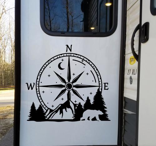 Compass Bear Mountain Vinyl Decal V1 - Moon Stars Forest Scene Graphics - Die Cut Sticker