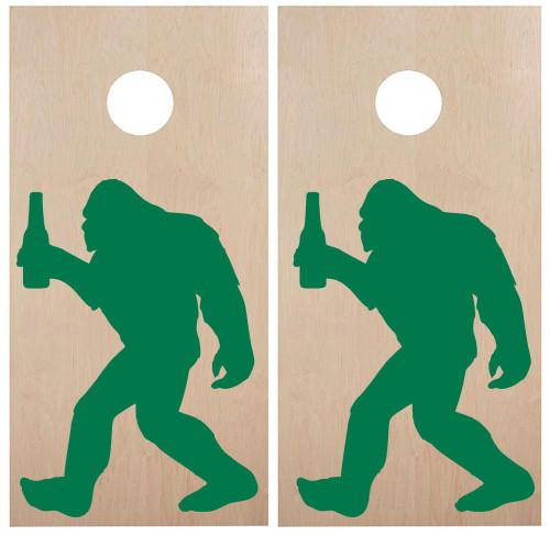 Bigfoot with Beer Cornhole Board Decals - PNW Sasquatch  - Vinyl Die Cut Stickers - each 21w x 30h inches