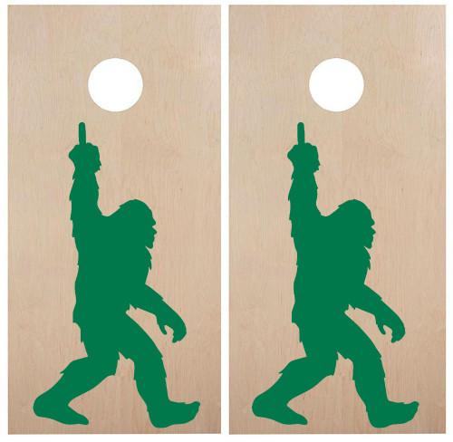 Bigfoot waving Middle Finger Cornhole Board Decals - PNW Sasquatch  - Vinyl Die Cut Stickers - each 18w x 33h inches