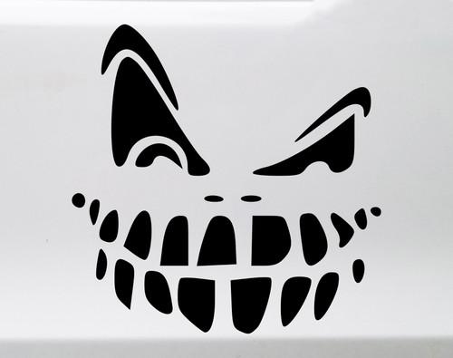 Pumpkin Face Vinyl Decal V1 - Halloween Creepy Scary - Die Cut Sticker