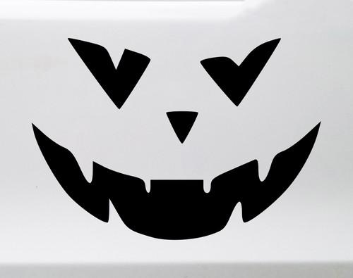 Pumpkin Face Vinyl Decal V4 - Halloween Creepy Smile Scary - Die Cut Sticker