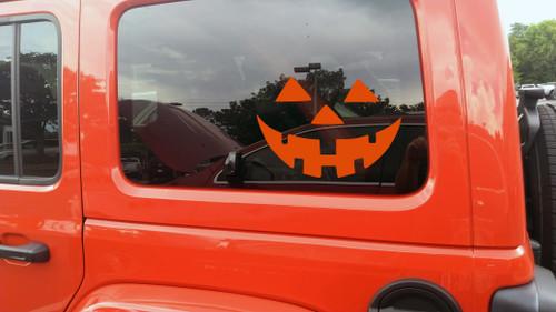 Pumpkin Face Vinyl Decal V5 - Halloween Creepy Smile Scary - Die Cut Sticker