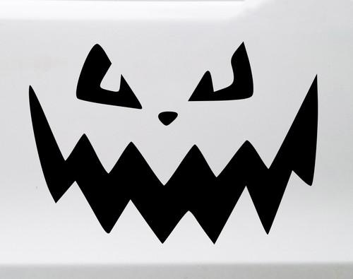 Pumpkin Face Vinyl Decal V7 - Halloween Creepy Smile Scary - Die Cut Sticker