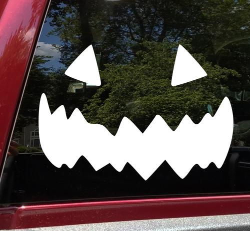 Pumpkin Face Vinyl Decal V9 - Halloween Creepy Smile Scary - Die Cut Sticker