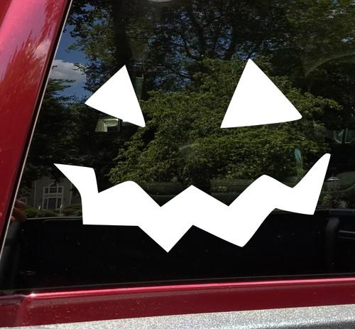 Pumpkin Face Vinyl Decal V10 - Halloween Creepy Smile Scary - Die Cut Sticker