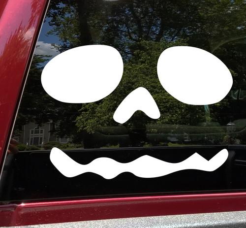 Pumpkin Face Vinyl Decal V11 - Halloween Creepy Smile Scary - Die Cut Sticker