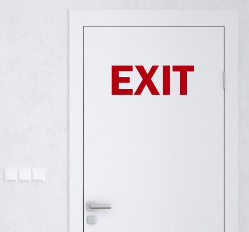 Exit Vinyl Decal - Business Office Egress Door Sign - Die Cut Sticker