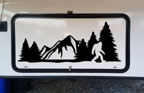 Bigfoot Mountains Forest Scene Vinyl Decal V14 - Sasquatch RV Graphics Camping - Die Cut Sticker