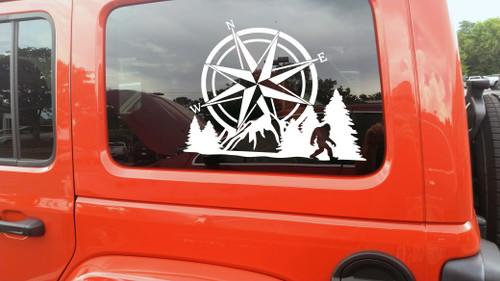 Compass Bigfoot Mountain Forest Scene V2 - Sasquatch Camping RV Graphics Scenery - Die Cut Sticker