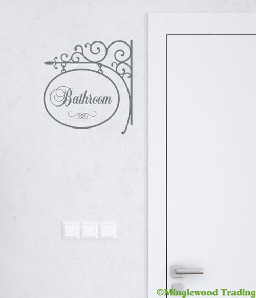 "BATHROOM 10.5"" x 10"" Vinyl Decal Sticker Sign - Loo Lavatory Powder Room"