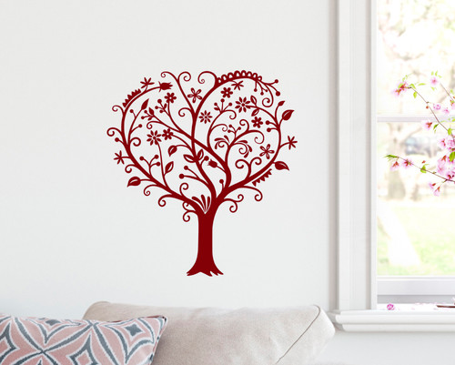 Heart Shaped Tree Vinyl Decal - Love Flowers - Die Cut Sticker