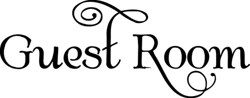 "Guest Room Vinyl Decal Sticker 9"" x 3.5"" - Bedroom Door Sign SWASH"