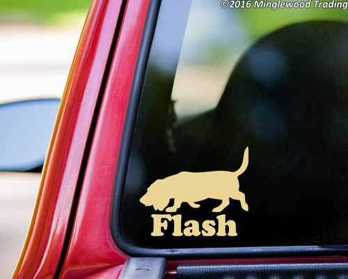 "BASSET HOUND Vinyl Decal Sticker with Custom Name 5"" x 4"" Hush Puppy Dog PERSONALIZED"