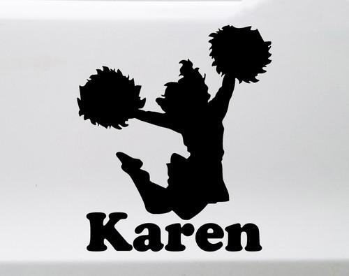 Cheerleader Vinyl Decal with Personalized Name - Cheering Custom - Die Cut Sticker