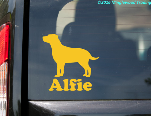Labrador Retriever with Personalized Name Vinyl Sticker - curved tail - Lab Dog Puppy - Die Cut Decal