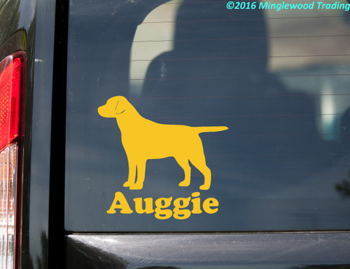 Labrador Retriever with Personalized Name Vinyl Sticker - straight tail - Lab Dog Puppy - Die Cut Decal