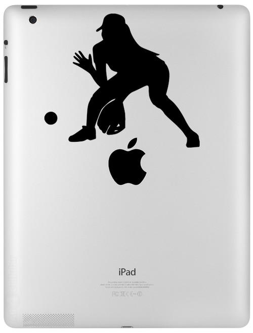 """Softball Infielder Player Vinyl Decal Sticker 5.25"""" x 4.5"""" iPad Car"""