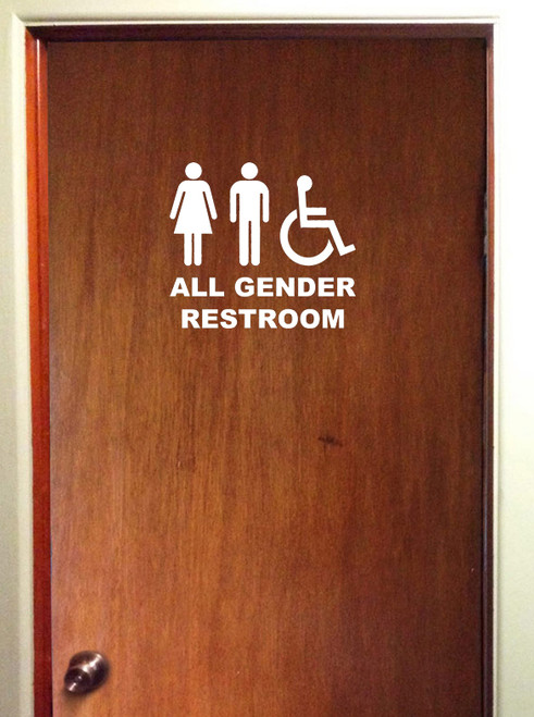"All Gender Restroom Door Sign Vinyl Decal Sticker Bathroom 10"" x 9"""
