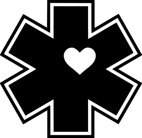 "EMS Heart Star of Life Wife Vinyl Decal Sticker 4"" x 4"" EMT First Responder"