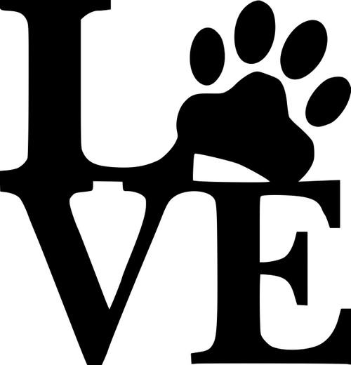 "Love Pawprint vinyl decal sticker 5"" x 5"" Dog Pet Puppy Paw Print"