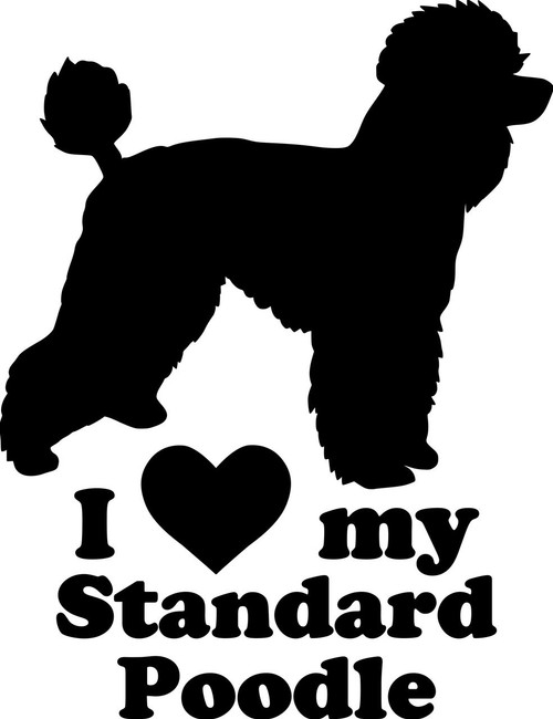 "I Love My Standard Poodle vinyl decal sticker 6.5"" x 5"" Barbone Dog Heart"